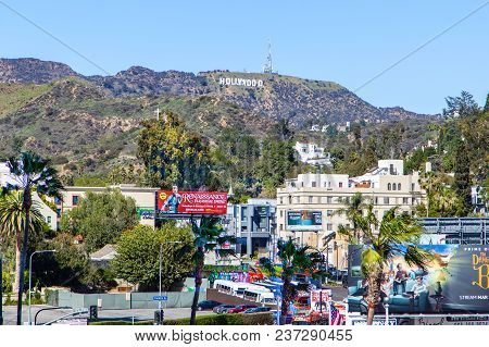 Los Angeles - Mar 26, 2018: View Of The Hollywood Sign In Los Angeles As Seen From Downtown Hollywoo