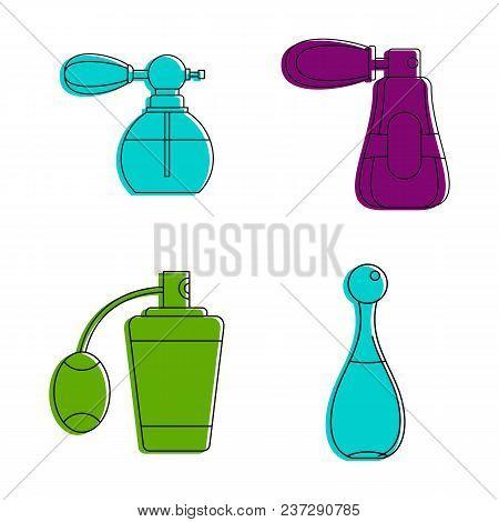 Old Fashion Perfume Icon Set. Color Outline Set Of Old Fashion Perfume Vector Icons For Web Design I
