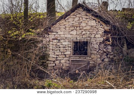 Ruins Of Abandoned Hut In The Middle Of The Wood. Broken Building Stone Construction. Forest Nature