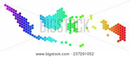 Hexagon Spectrum Indonesia Map. Vector Geographic Map In Bright Colors On A White Background. Spectr