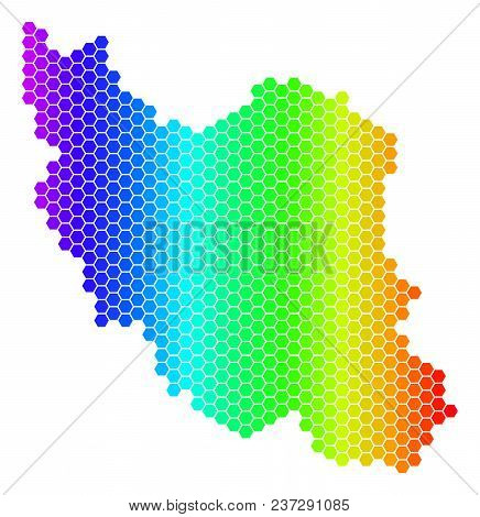 Hexagon Spectrum Iran Map. Vector Geographic Map In Bright Colors On A White Background. Spectrum Ha