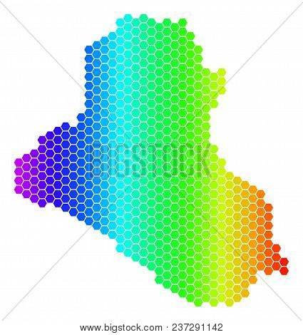 Spectrum Hexagonal Iraq Map. Vector Geographic Map In Bright Colors On A White Background. Spectrum