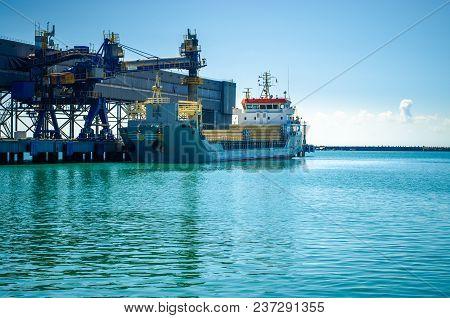 Big Ship In A Dockyard Scenic Industrial Marine Background