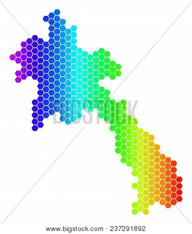 Hexagon Spectrum Laos Map. Vector Geographic Map In Bright Colors On A White Background. Spectrum Ha
