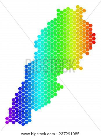 Hexagon Spectrum Lebanon Map. Vector Geographic Map In Bright Colors On A White Background. Spectrum