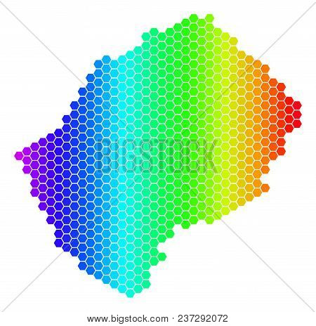 Spectrum Hexagonal Lesotho Map. Vector Geographic Map In Bright Colors On A White Background. Spectr