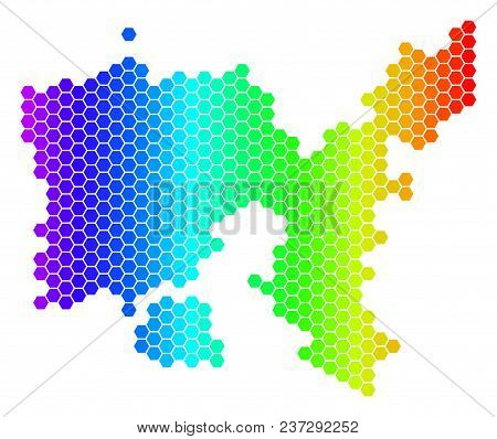 Hexagon Spectrum Limnos Greek Island Map. Vector Geographic Map In Bright Colors On A White Backgrou