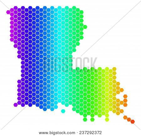 Spectrum Hexagonal Louisiana State Map. Vector Geographic Map In Bright Colors On A White Background