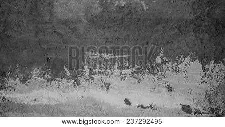 Abstract Grunge White Grey Concrete Texture For Design. Rough Dirty Plaster Surface Wall Building Ba