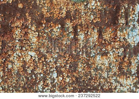 Old Metal Painted Background With Streaks Of Rust For Creativity, Textures And Backgrounds.