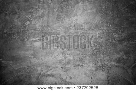 Abstract Grunge Black Grey Concrete Texture. Rough Dark Surface Wall Building Background. Horizontal