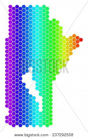 Spectrum Hexagonal Manitoba Province Map. Vector Geographic Map In Bright Colors On A White Backgrou