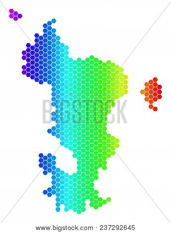 Spectrum Hexagonal Mayotte Island Map. Vector Geographic Map In Bright Colors On A White Background.
