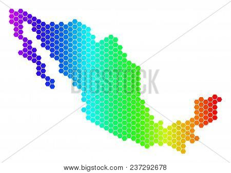 Spectrum Hexagonal Mexico Map. Vector Geographic Map In Bright Colors On A White Background. Spectru