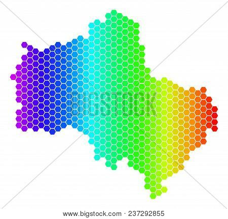 Spectrum Hexagonal Moscow Oblast Map. Vector Geographic Map In Bright Colors On A White Background.