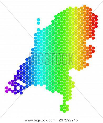 Spectrum Hexagonal Netherlands Map. Vector Geographic Map In Bright Colors On A White Background. Sp