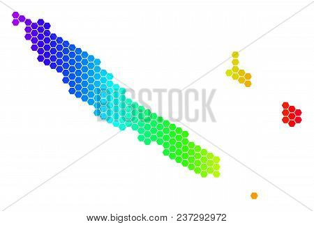 Spectrum Hexagonal New Caledonia Islands Map. Vector Geographic Map In Bright Colors On A White Back
