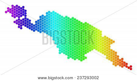 Hexagon Spectrum New Guinea Countries Map. Vector Geographic Map In Bright Colors On A White Backgro