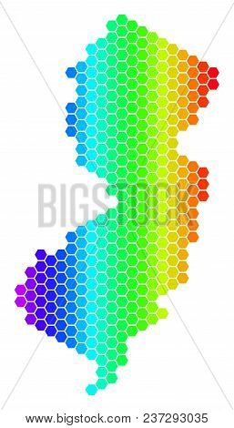 Hexagon Spectrum New Jersey State Map. Vector Geographic Map In Bright Colors On A White Background.