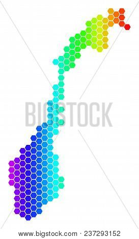 Spectrum Hexagonal Norway Map. Vector Geographic Map In Bright Colors On A White Background. Spectru