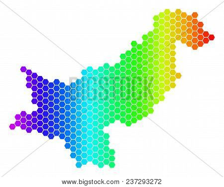 Spectrum Hexagonal Pakistan Map. Vector Geographic Map In Bright Colors On A White Background. Spect