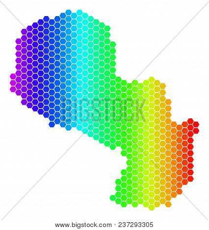 Hexagon Spectrum Paraguay Map. Vector Geographic Map In Bright Colors On A White Background. Spectru