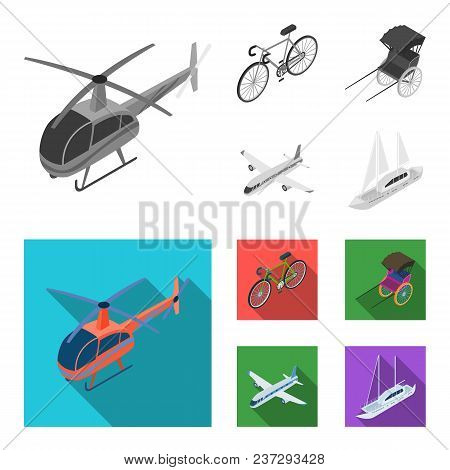 Bicycle, Rickshaw, Plane, Yacht.transport Set Collection Icons In Monochrome, Flat Style Vector Symb