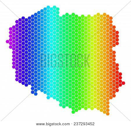 Hexagon Spectrum Poland Map. Vector Geographic Map In Bright Colors On A White Background. Spectrum