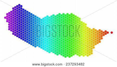 Spectrum Hexagonal Portugal Madeira Island Map. Vector Geographic Map In Bright Colors On A White Ba