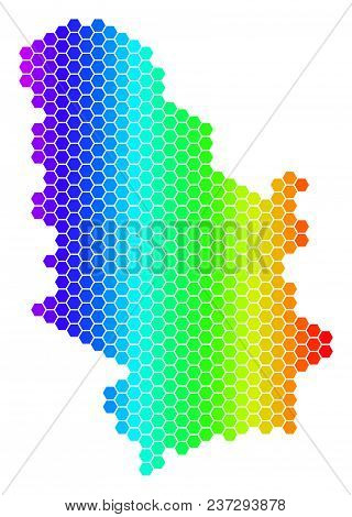 Spectrum Hexagonal Serbia Map. Vector Geographic Map In Bright Colors On A White Background. Spectru