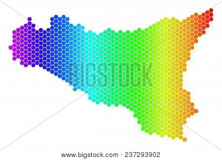 Hexagon Spectrum Sicilia Map. Vector Geographic Map In Bright Colors On A White Background. Spectrum