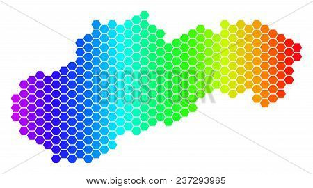 Spectrum Hexagonal Slovakia Map. Vector Geographic Map In Bright Colors On A White Background. Spect
