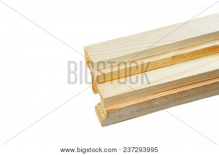 Some Wooden Beam From Pine, Isolated On White Background
