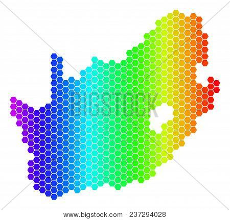 Hexagon Spectrum South African Republic Map. Vector Geographic Map In Bright Colors On A White Backg