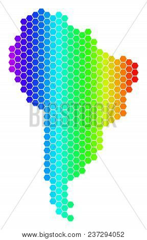 Spectrum Hexagonal South America Map. Vector Geographic Map In Bright Colors On A White Background.