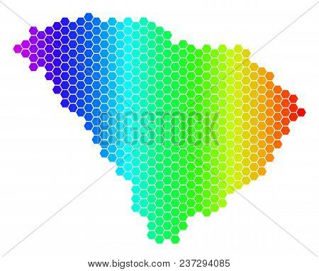 Hexagon Spectrum South Carolina State Map. Vector Geographic Map In Bright Colors On A White Backgro