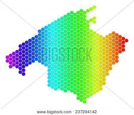 Hexagon Spectrum Spain Mallorca Island Map. Vector Geographic Map In Bright Colors On A White Backgr