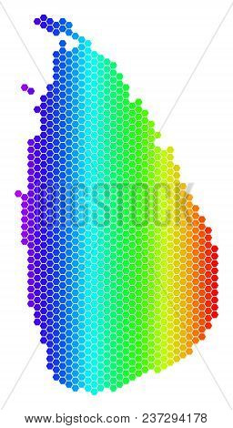 Spectrum Hexagonal Sri Lanka Island Map. Vector Geographic Map In Bright Colors On A White Backgroun