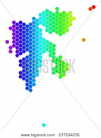 Hexagon Spectrum Svalbard Island Map. Vector Geographic Map In Bright Colors On A White Background.