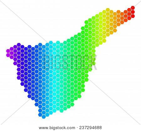Spectrum Hexagonal Tenerife Spain Island Map. Vector Geographic Map In Bright Colors On A White Back
