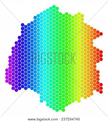 Hexagon Spectrum Thassos Greek Island Map. Vector Geographic Map In Bright Colors On A White Backgro