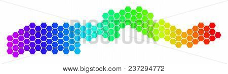 Spectrum Hexagonal The Gambia Map. Vector Geographic Map In Bright Colors On A White Background. Spe