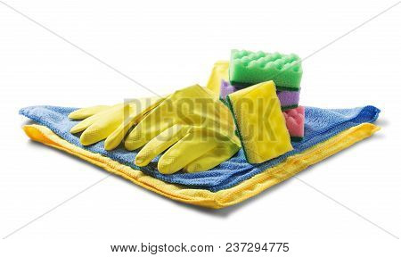 Sponges For Cleaning,rag Napkin, Rubber Gloves On White Isolated White Background. Items For Cleanin