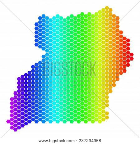 Spectrum Hexagonal Uganda Map. Vector Geographic Map In Bright Colors On A White Background. Spectru