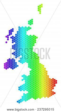 Hexagon Spectrum United Kingdom Map. Vector Geographic Map In Bright Colors On A White Background. S
