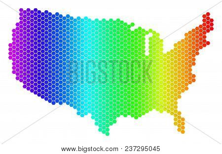 Hexagon Spectrum Usa Map. Vector Geographic Map In Bright Colors On A White Background. Spectrum Has
