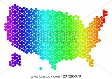 Hexagon Spectrum Usa With Alaska Map. Vector Geographic Map In Bright Colors On A White Background.