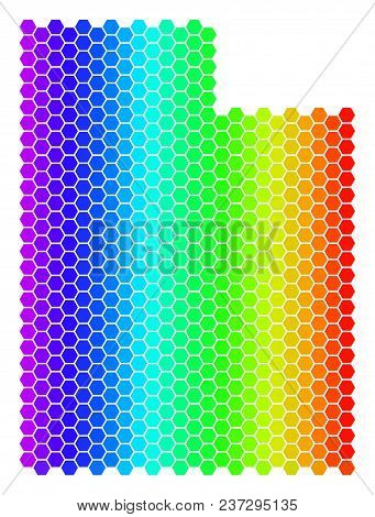 Spectrum Hexagonal Utah State Map. Vector Geographic Map In Bright Colors On A White Background. Spe