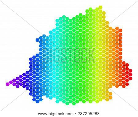 Hexagon Spectrum Vatican Map. Vector Geographic Map In Bright Colors On A White Background. Spectrum