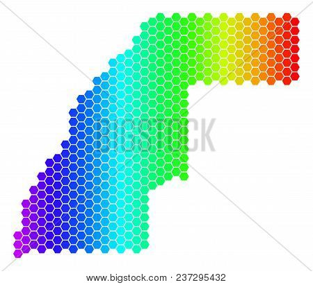 Hexagon Spectrum Western Sahara Map. Vector Geographic Map In Bright Colors On A White Background. S
